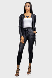 Bomb & Bougie faux leather bomber jacket on model front view