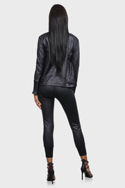 Bomb & Bougie faux leather bomber jacket on model rear view