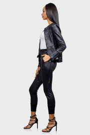 Bomb & Bougie faux leather bomber jacket on model side view
