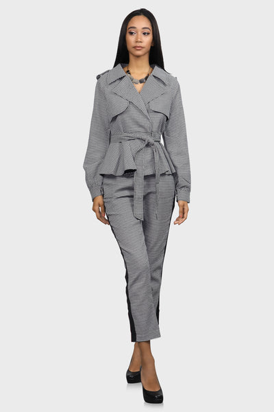 Boss Lady Houndstooth Trench Coat on model front view