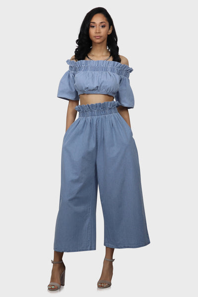 Brunch Date two piece pants set on model front view