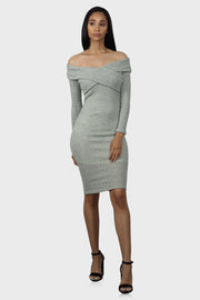By My Side long sleeve bodycon dress on model front view