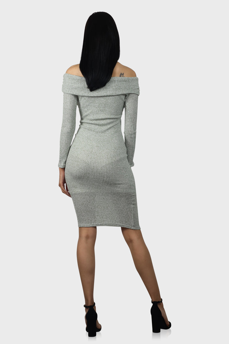 By My Side long sleeve bodycon dress on model rear view