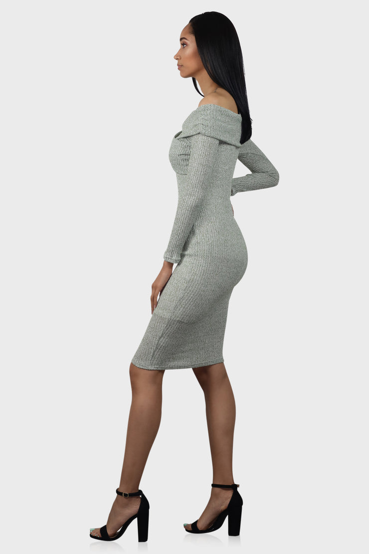 By My Side long sleeve bodycon dress on model side view