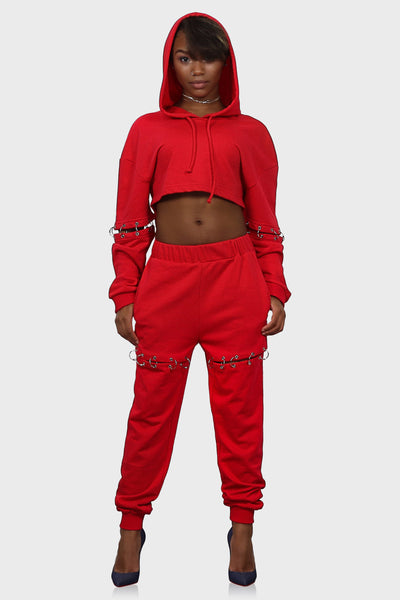 Sweatsuit set womens red on model front view