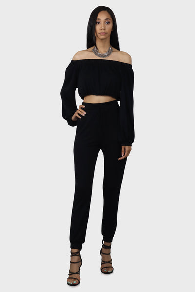 Cozy Nights Jogger Set Women Black on model front view