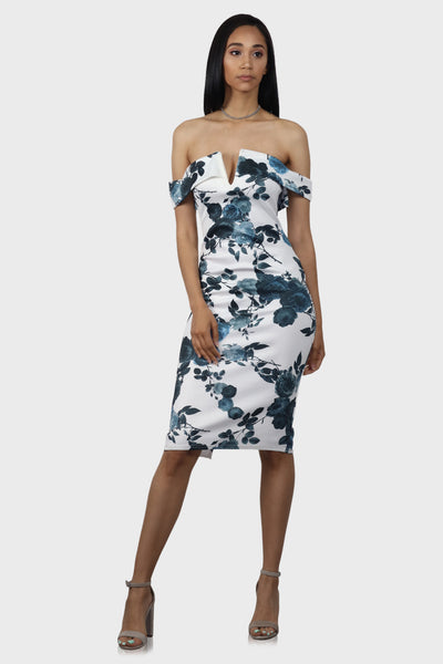 Off shoulder midi dress floral blue on model front view