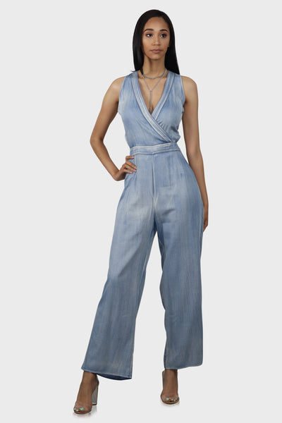 Cut To The Chase Denim Jumpsuit on model front view