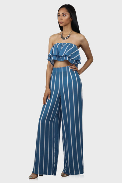 Do or Stripe pants set on model front view