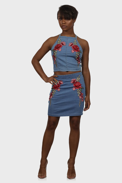 Floral Bloom skirt set on model front view