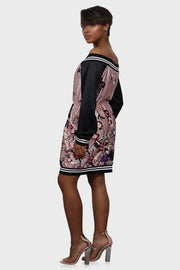 Floral Feels bomber dress on model side view