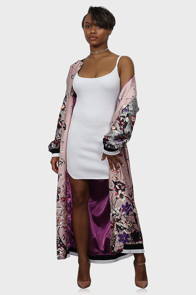 Flower Bomb long bomber jacket pink on model front view