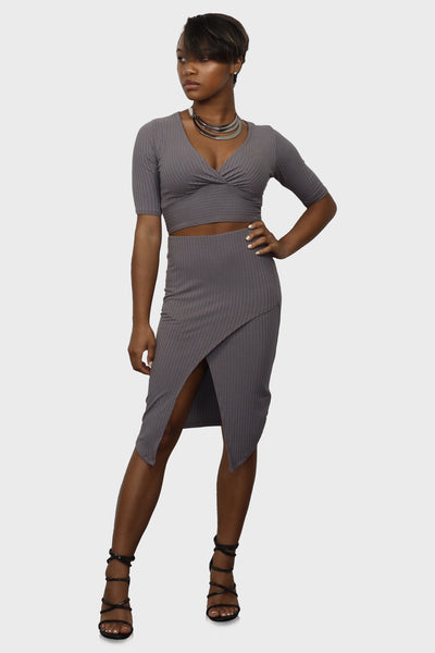 Grown Woman skirt and top set on model front view