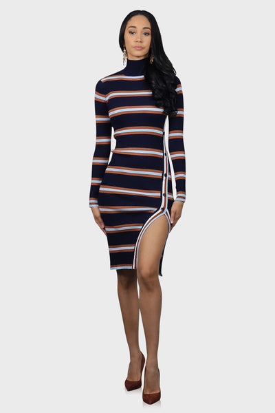 Striped sweater dress with turtleneck blue on model front view