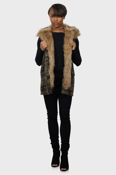 Hold me Down fur camo vest on model front view