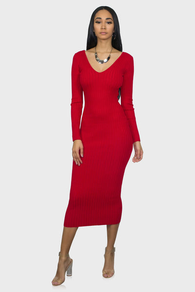 Bodycon midi dress red on model front view