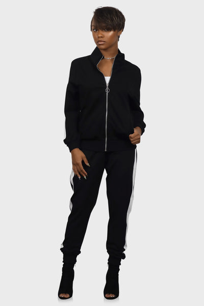 Tracksuit set womens black on model front view