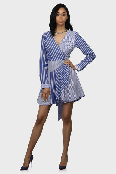 Its About Stripe wrap around dress on model front view