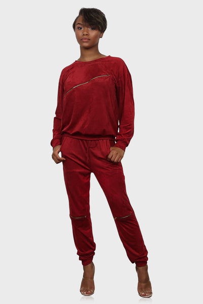 Velour Sweatsuit red on model front view