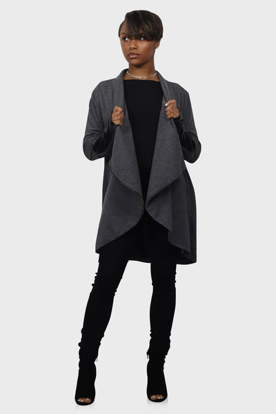 Just in Time moto cardigan on model front view