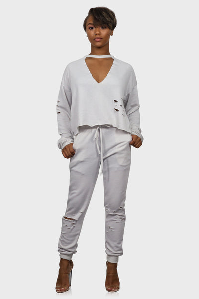 Keep Me Cozy Distressed Sweatsuit Set on model front view