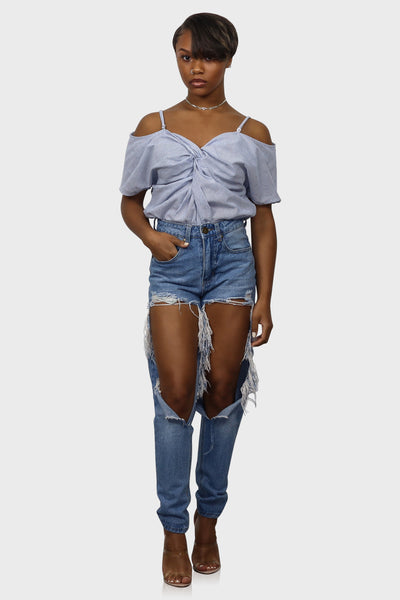 Knot So Fast off shoulder crop top on model front view