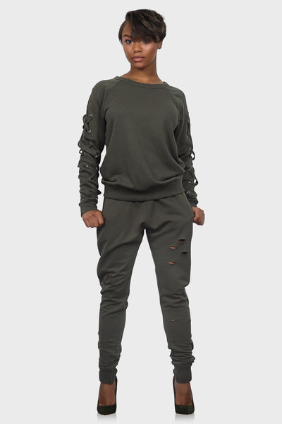 Laced up sweatsuit on model front view