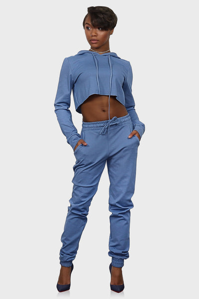 Sweatsuit women light blue on model front view