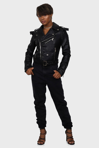 Lets Ride ruffle leather jacket on model front view