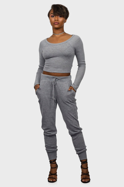 Lounge Around Crop Top Sweater and Joggers on model front view