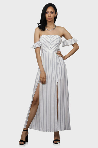 Love At First Stripe maxi dress on model front view