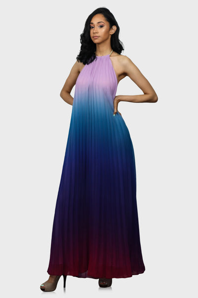 Magical Sunset halter maxi dress blue on model front view