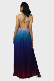 Magical Sunset halter maxi dress blue on model rear view