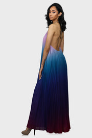 Magical Sunset halter maxi dress blue on model side view two