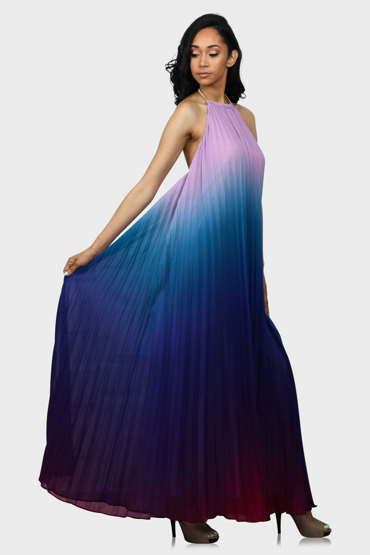 Magical Sunset halter maxi dress blue on model side view