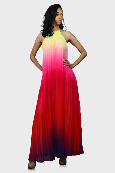 Magical Sunset halter maxi dress pink on model front view