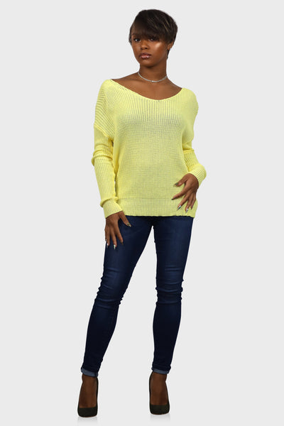 Twist back sweater yellow on model front view