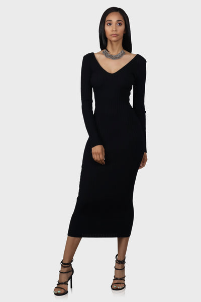 Sweater dress black on model front view