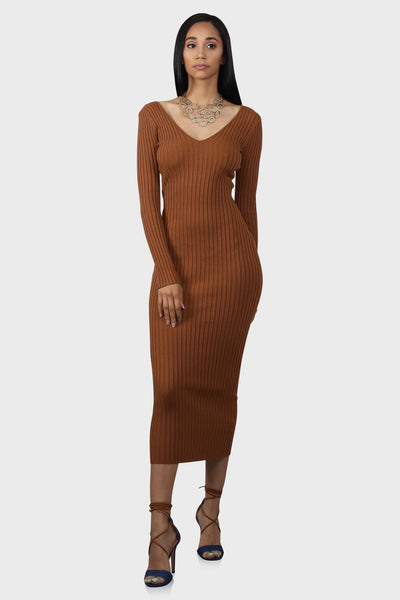 No Brakes Rust ribbed maxi dress on model front view