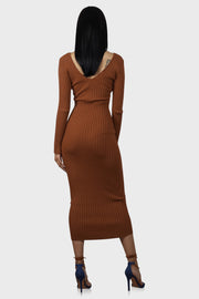 No Brakes Rust ribbed maxi dress on model rear view