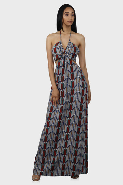 Halter maxi dress with cutouts on model front view
