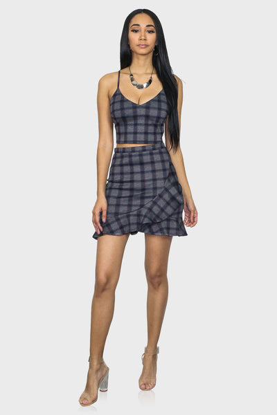 Plaid two piece skirt set on model front view