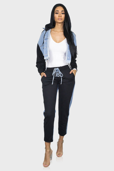Denim two piece women's sweatsuit on model front view