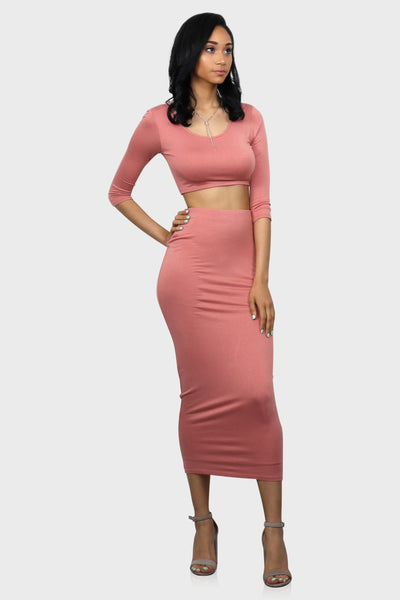 Pull Me In Tight Pink Crop Top and Midi Skirt Set on model front view