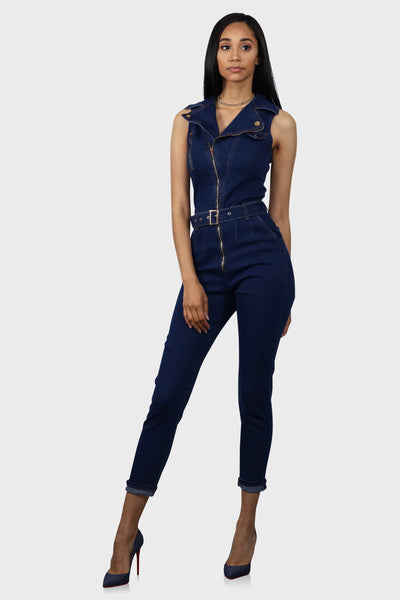 Curves For Days moto zip front denim jumpsuit on model front view 2