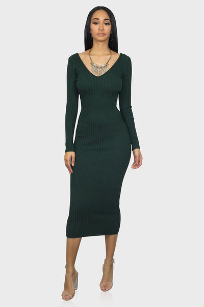 Bodycon midi dress hunter green on model front view