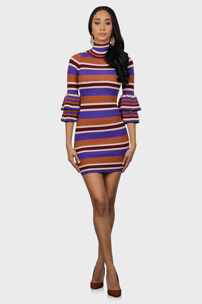 Rust striped mini sweater dress with ruffle sleeves on model front view