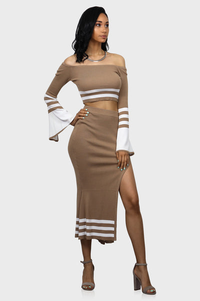 Tan bell sleeve top and high waisted skirt set on model front view