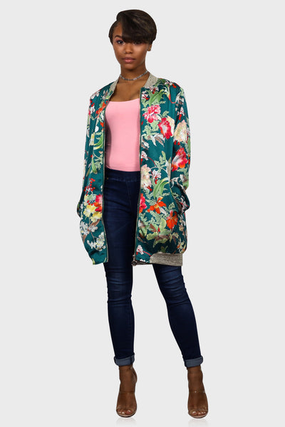 Smell The Roses Floral Print Bomber Jacket on model front view