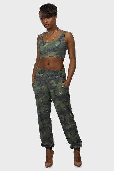 Soul Survivor camo sweatsuit on model side view